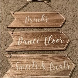 Set Of 3 Hanging Wood Signs